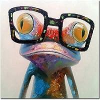 Fokenzary, pittura ad olio dipinta a mano, rana con occhiali su tela, stesa e incorniciata, pronta da appendere