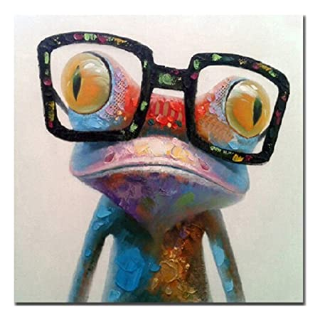 Fokenzary Hand Painted Oil Painting Pop Frog with Glasses on Canvas Wall Art Framed Ready to Hang 32x32in