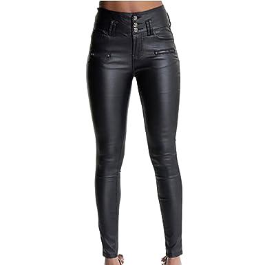 LAEMILIA Leggings Femme Simili Cuir Taille Haute Sexy Pantalon Slim Fit  Pencil Joggings Crayon Strech Skinny d1712b4c38ab