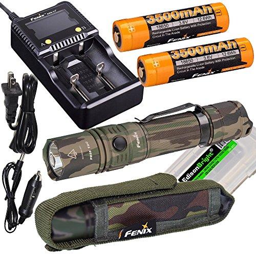 Fenix PD35 TAC Camo 1000 Lumen CREE LED Tactical Flashlight, Fenix smart battery charger, Two Fenix 18650 3500mAh rechargeable batteries with EdisonBright battery carry case bundle