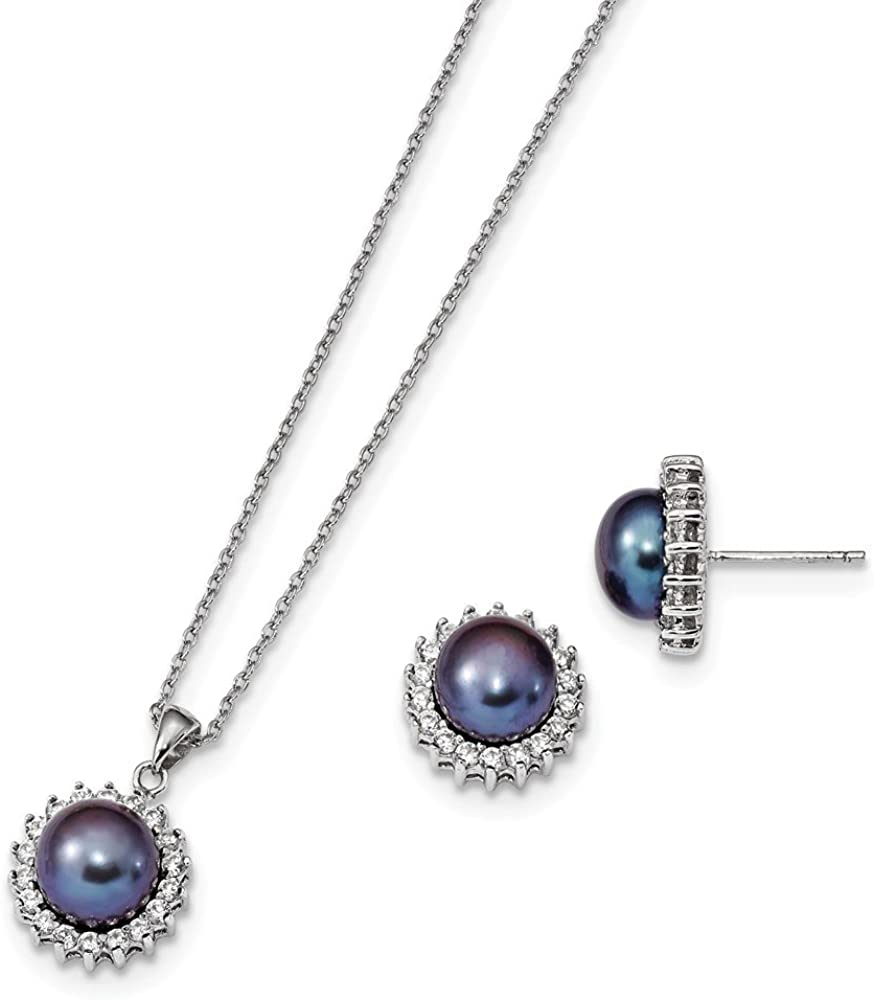 Jewelry Sets Earrings//Necklace Sterling Silver RH 8-9mm Black FWC Pearl Earring and Necklace Set