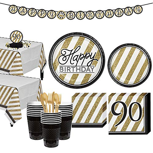 Party City White and Gold Striped 90th Birthday Party Kit for 32 Guests, 271 Pieces, Includes Tableware and Decorations