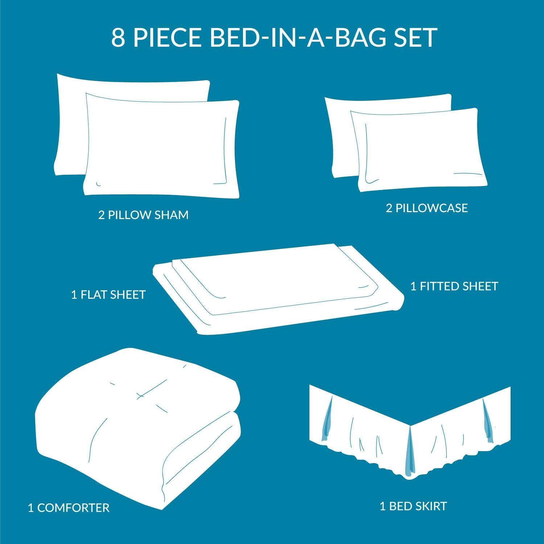 Grey All Season Quatrefoil Pattern Bed Comforter Set Queen Size Bedsure 8 Pieces Bed in A Bag 1 Comforter, 2 Pillow Shams, 1 Flat Sheet, 1 Fitted Sheet, 1 Bed Skirt, 2 Pillowcases
