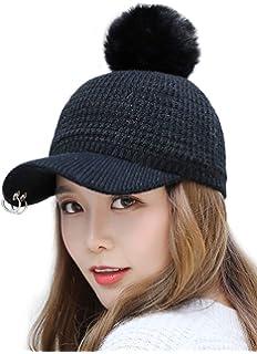 15ae913649e Ababalaya Women s Fashion Winter Warm Pom Pom Cable Knitted Beanie Visor Cap  Ski Skull Cap