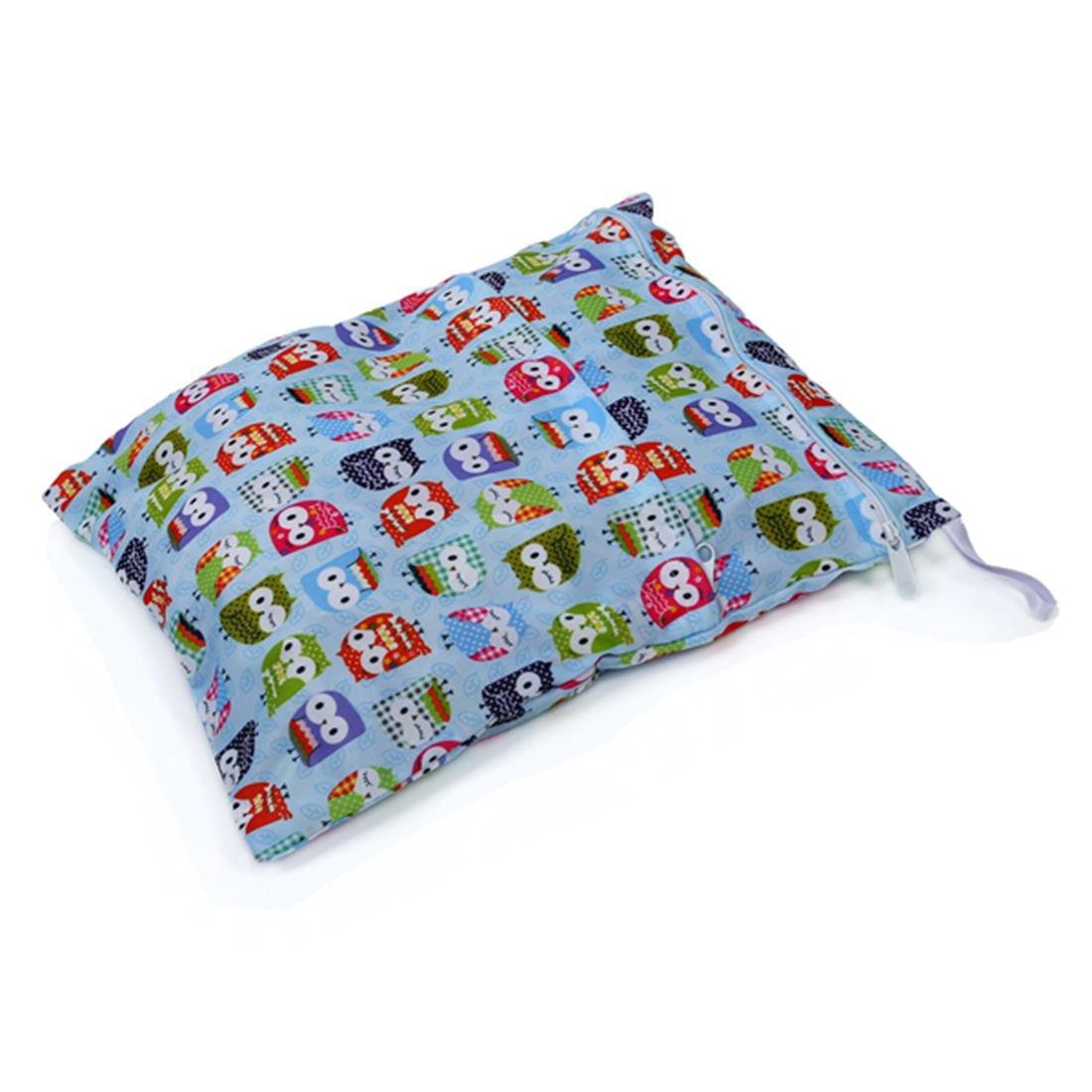 SODIAL(R) Sac sacoche stockage rangement arrangement de couche lavable bebe tissu culotte(Impression Blue Owl) 035468A4