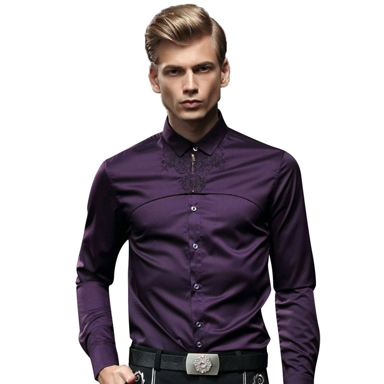Fanzhuan Purple Designer Shirt Long Sleeve Slim Fit Party Dress