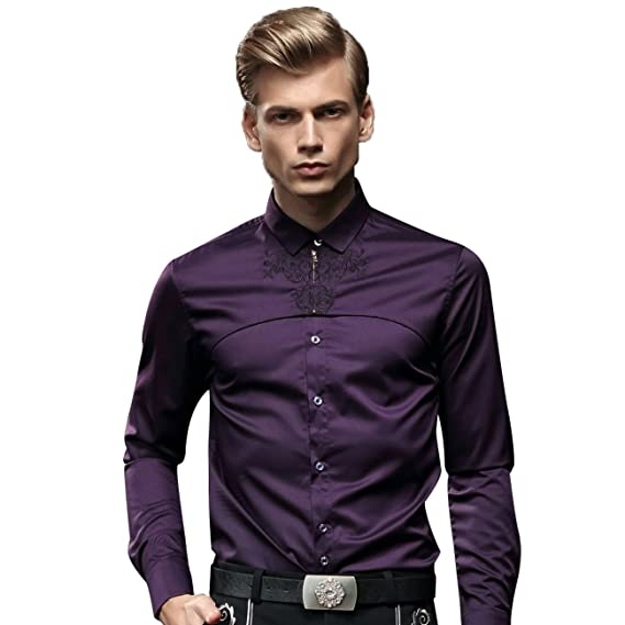 053911b59 FANZHUAN Purple Shirt Men Slim Fit Long Sleeve Dress Shirts Wrinkle Free   Amazon.co.uk  Clothing