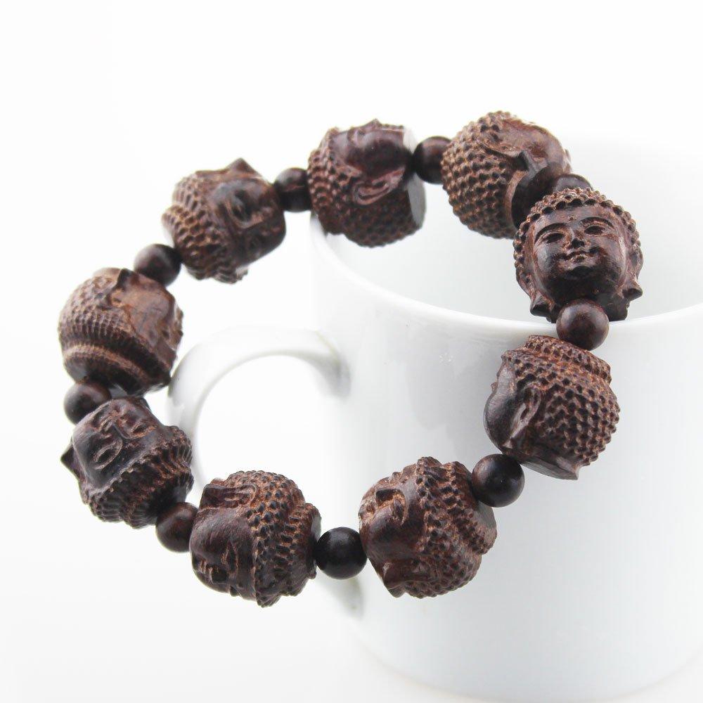 FOY-MALL Red Sandalwood Carved Buddha Head Stretch Bracelet E1142 by FOY-MALL (Image #2)