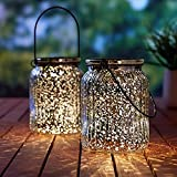 voona 2-Pack Solar Mercury Glass Jar Hanging Outdoor Light for Garden Decorations Outdoor Decor (Silver)