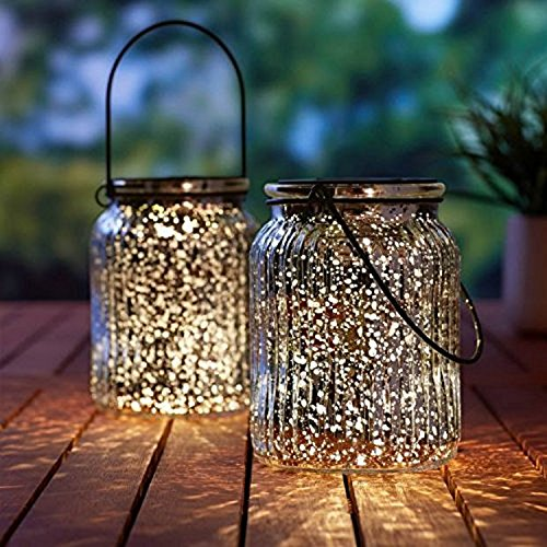 Voona 2 Pack Solar Mercury Glass Jar Hanging Outdoor Light For Garden Decorations Outdoor Decor