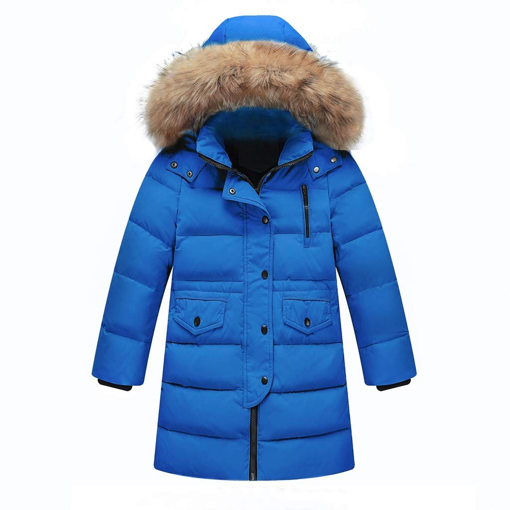 BFYOU Kids Girls Winter Faux Fur Hooded Parka Down Coat Puffer Jacket Padded Overcoat Blue by BFYOU_ Girl Clothing