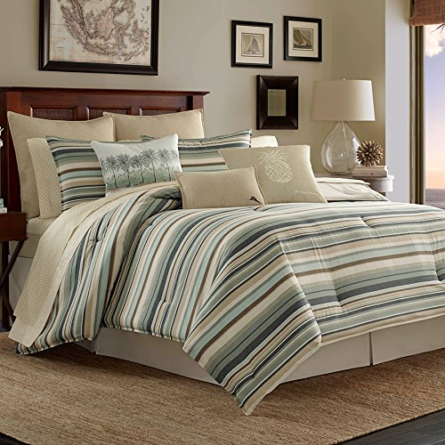 Tommy Bahama Canvas Stripe Comforter Set, Queen, Green