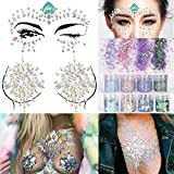 COKOHAPPY 2 Sheets Face & Breast Mermaid Rhinestones Sticker Gem with 8 Boxes 10ml Holographic Chunky Glitter Ultra-thin Colorful Mixed Paillette - Festival Rave Party Jewel Tattoo Set 1