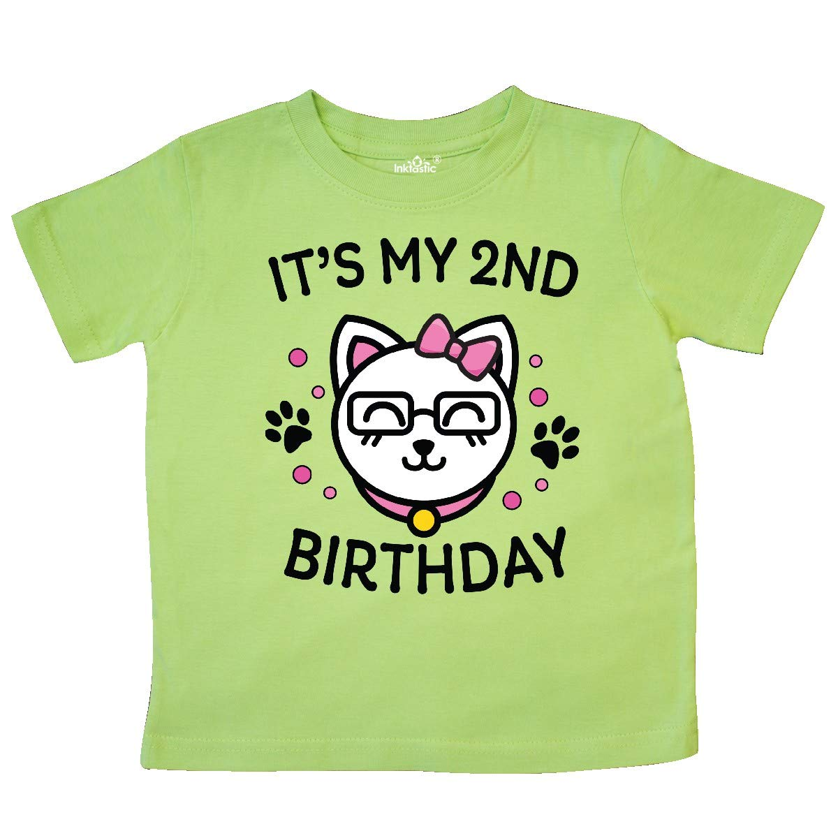 inktastic Its My 2nd Birthday with Cat in Glasses Toddler T-Shirt