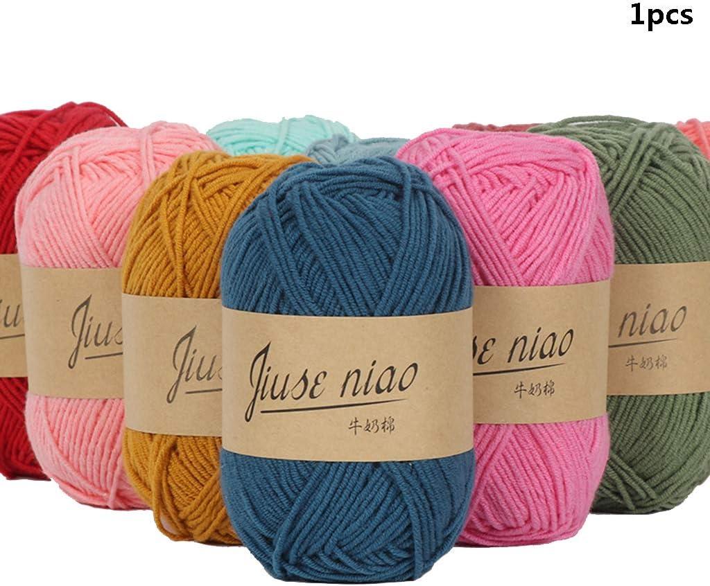 Ogquaton 1 Rollo de algodón Hilo de Crochet Hilo de Tejer Suave y Ligero Adecuado para Tejer Ropa, Bufandas, Mantas, Cojines, Decoraciones, etc.: Amazon.es: Hogar
