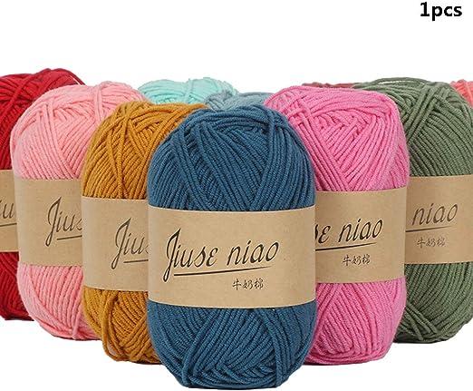 Ogquaton 1 Rollo de algodón Hilo de Crochet Hilo de Tejer Suave y ...