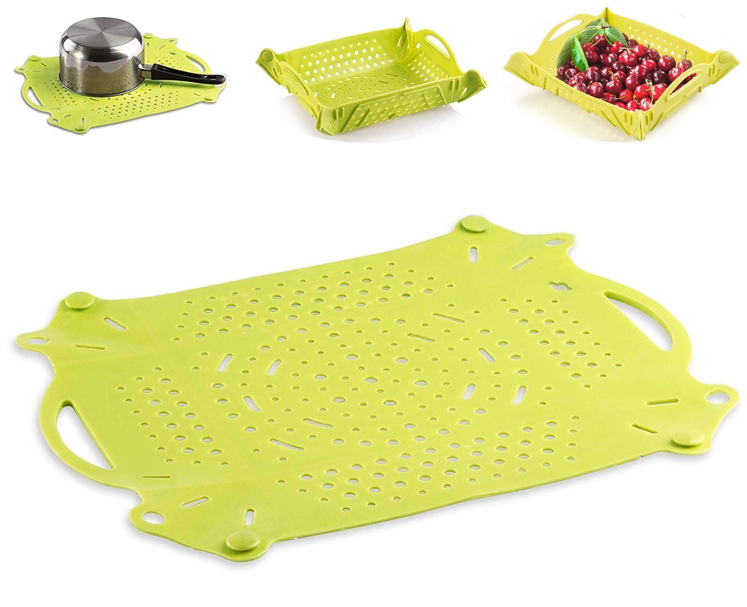 LUXEAR Multifunctional Silicone Drying pad,Silicone Pot Holder,Dish Drying Mat,Countertop Mat Drain pads Suitable for Camping Home Kitchen Outoor Non-slip Durable Green