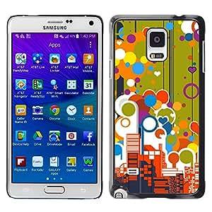 TopCaseStore / la caja del caucho duro de la cubierta de protección de la piel - Big City Skyscrapers View Love Balloons Colorful - Samsung Galaxy Note 4 SM-N910