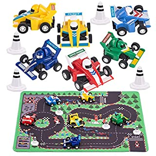 """Kilpkonn Race Car Toys with Play Mat, 6 Racing Cars, 4 Road Signs, 14"""" x 18"""" Match Scene Playmat, Mini Pull Back Car Toys,Perfect Toy for 2 3 4 5 Year Old Boy Toddler"""