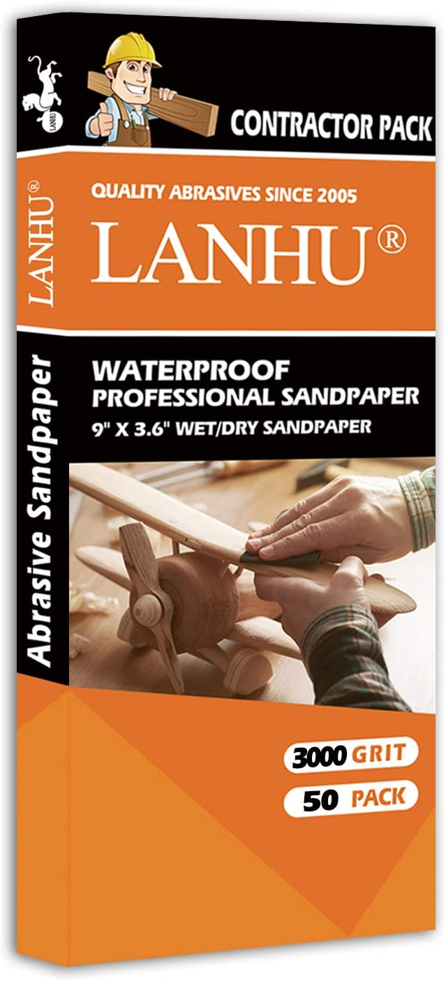 LANHU 3000 Grit Sandpaper for Wood Furniture Finishing, Metal Sanding and Automotive Polishing, Dry or Wet Sanding, Multipurpose Sandpaper, 9 x 3.6 Inches, 50-Sheets
