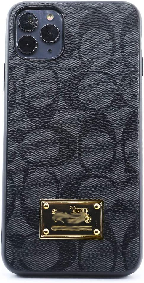 Classic Monogram Pattern Cellphone case,Luxury Ultra-Thin Leather Metal nameplate TPU Frame case Cover for Apple iPhone 12 6.1