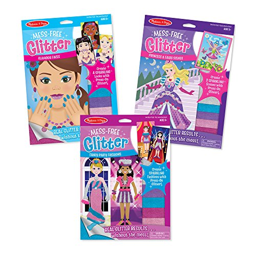 Melissa & Doug Mess-Free Glamour Faces/Princess & Fairy/Fancy Party Fashions Glitters (3 Pack) - Fairy Princess Glitter
