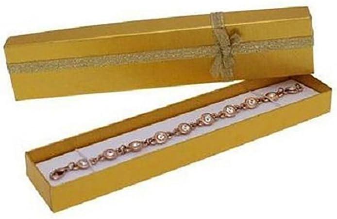 Lote de 12 cajas para pulseras, papel, dorado, 20 x 4 cm: Amazon.es: Hogar
