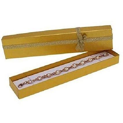 Lote de 12 cajas para pulseras, papel, dorado, 20 x 4 cm