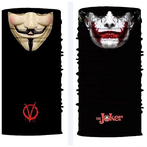 ShopINess Cache-Cou/Bandana Multifonctions - Joker + Vendetta