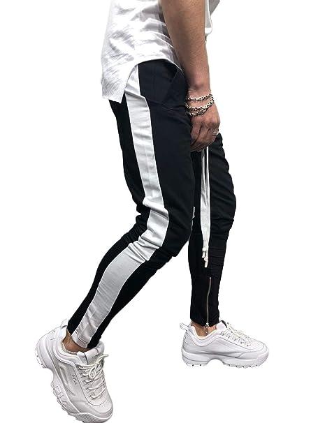 Tasty Life Pantalones Negros para Hombres, Pantalones De Chándal ...