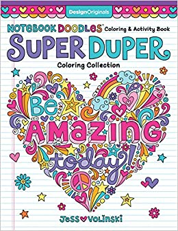 Amazon Notebook Doodles Super Duper Coloring Activity Book With Color Your Own Stickers 9781497203440 Jess Volinski Books