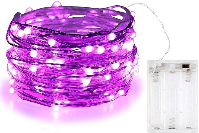 Guirnalda de luces Bolweo de 3 m con 30 luces LED, Morado, 1 pack: Amazon.es: Hogar