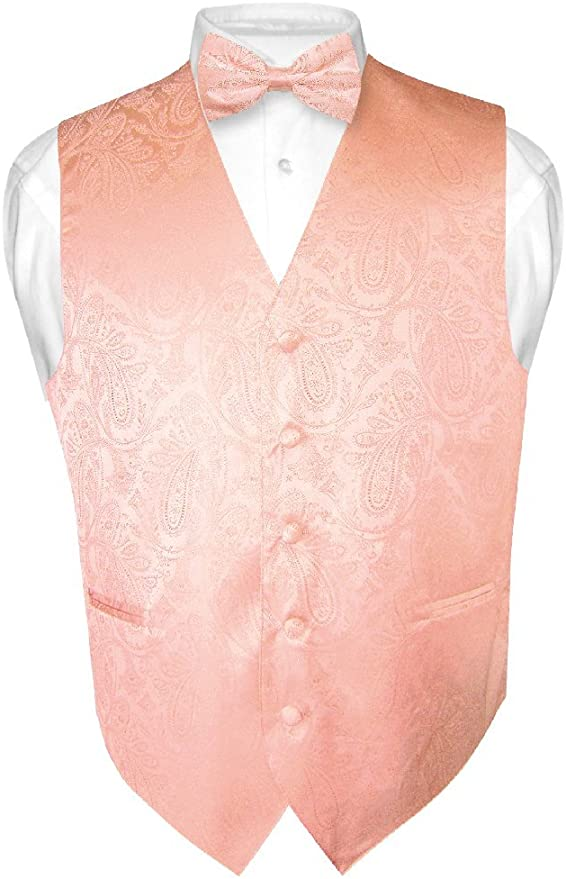 New Vesuvio Napoli Men/'s Formal Vest Tuxedo Waistcoat Peach/_Bowtie wedding prom