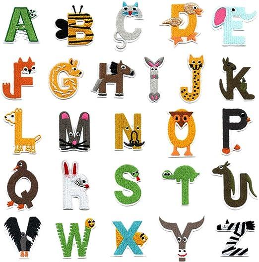 26 parches de letras del alfabeto A-Z, con forma de animal, bordados, para planchar o coser, para vaqueros, chaquetas, mochilas, ropa: Amazon.es: Hogar