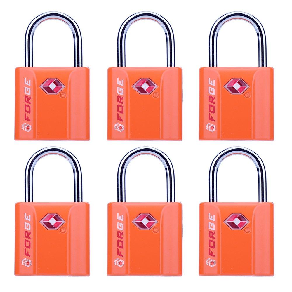 Orange 6 Pack TSA Approved Luggage Locks