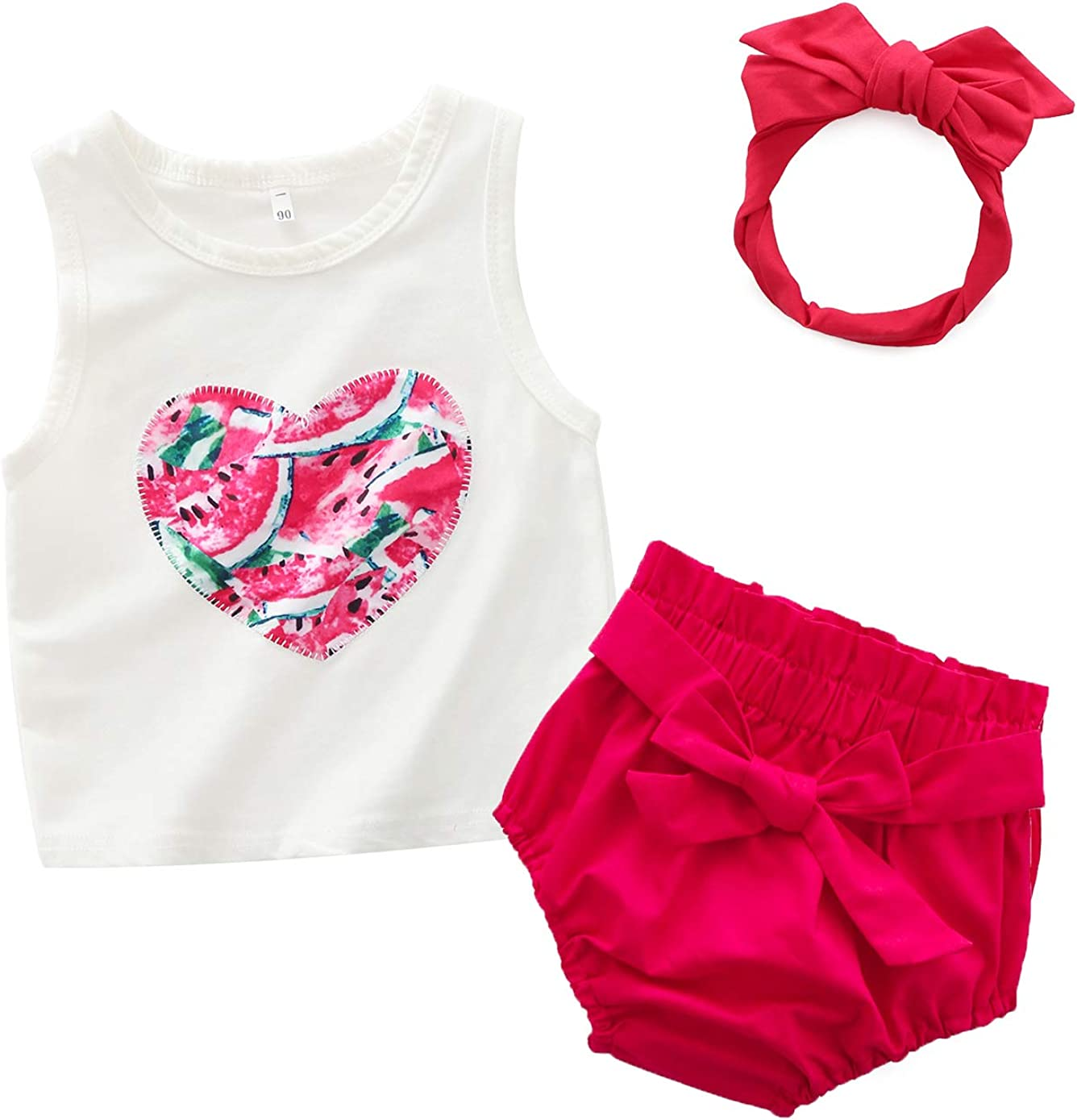 Newborn Baby Girls Red Heart Vest Tank Top Elastic Ruffle Bubble PP Blommer Shorts with Bowknot Headband Outfit Set
