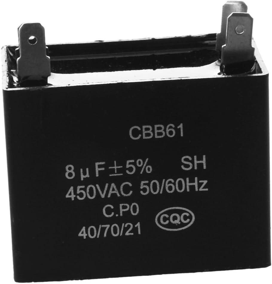 REFURBISHHOUSE CBB61 450VAC 8uF 4 Terminal Acondicionador de Aire Ventilador Correr Condensador