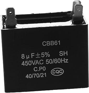 SODIAL(R)CBB61 450VAC 8uF 4 Terminal Acondicionador de Aire ...