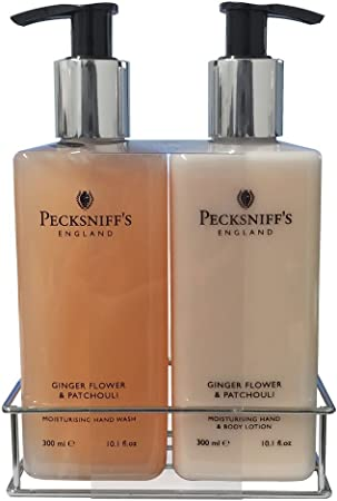 Pecksniff s Ginger Flower Patchouli Nourishing Hand Wash Body Lotion Set 10.1 oz