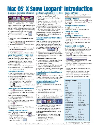 Mac OS X Snow Leopard Quick Reference Guide (Cheat Sheet ...