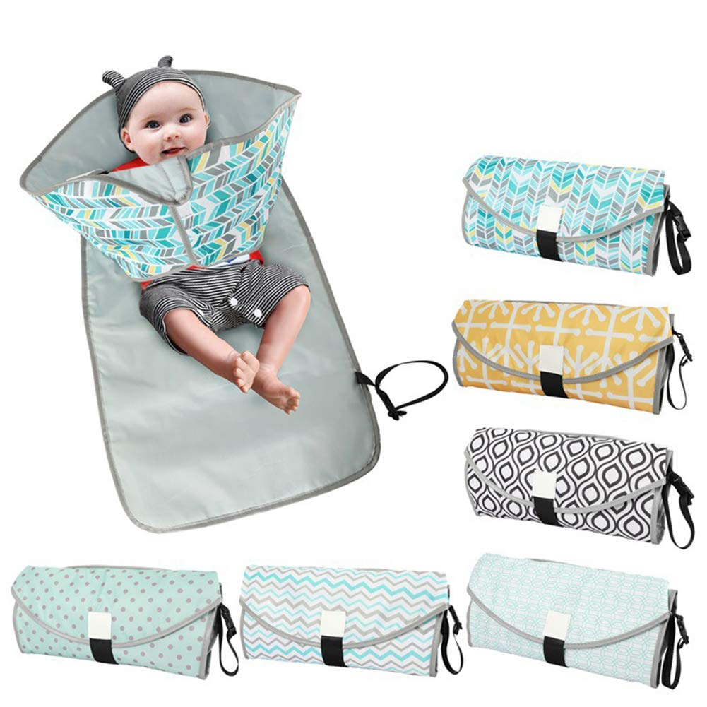 Volwco Changing Pad for Baby Lightweight Portable Diaper Changing Mat Waterproof Foldable Travel Changing Station with Built-in Comfortable Head Cushion and Pockets for Infants Newborns Toddlers