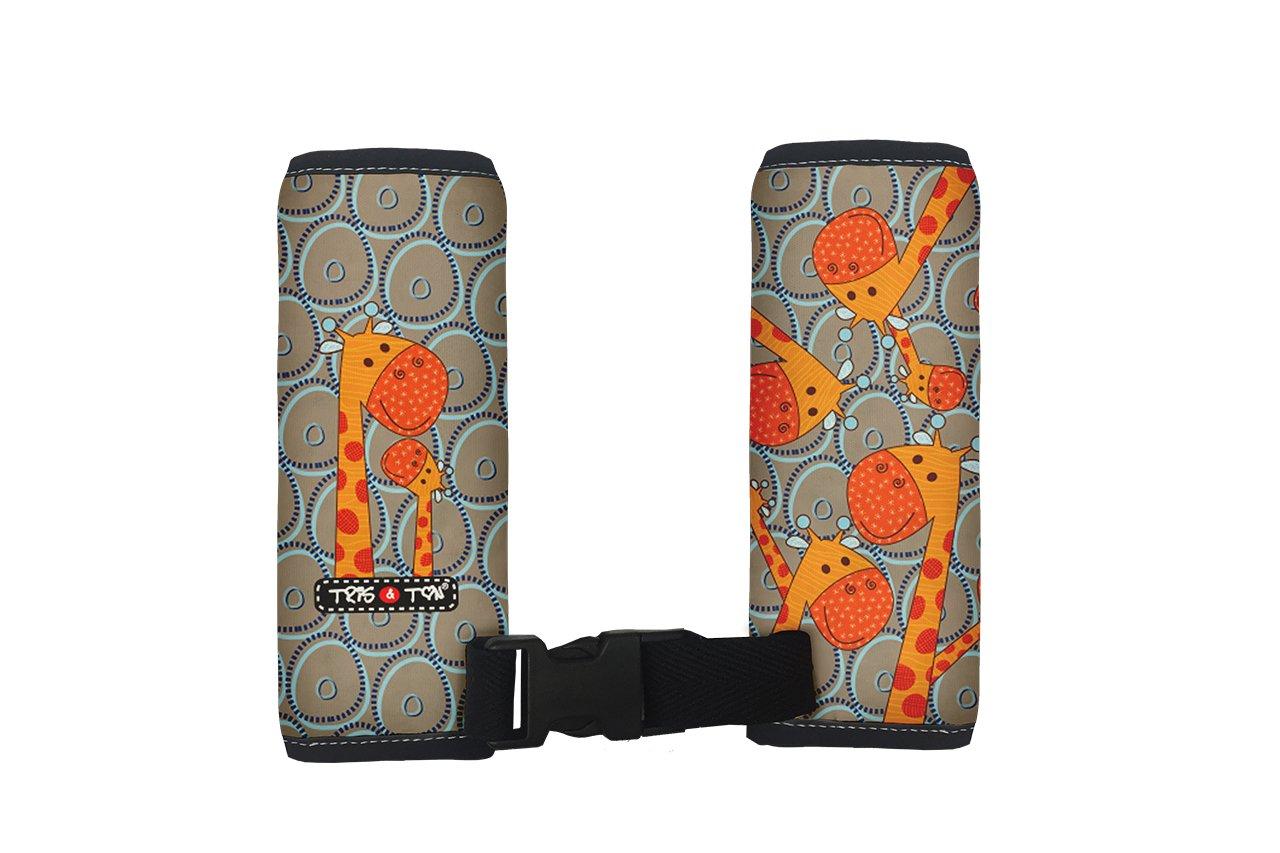 Tris/&Ton Protector de arneses de silla de paseo protector funda cinturon silla de coche almohadillas protectoras acolchadas y c/ómodas modelo Giraffes Tris y Ton