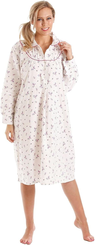 camicia da notte da Donna motivo floreale in flanella di cotone spazzolato