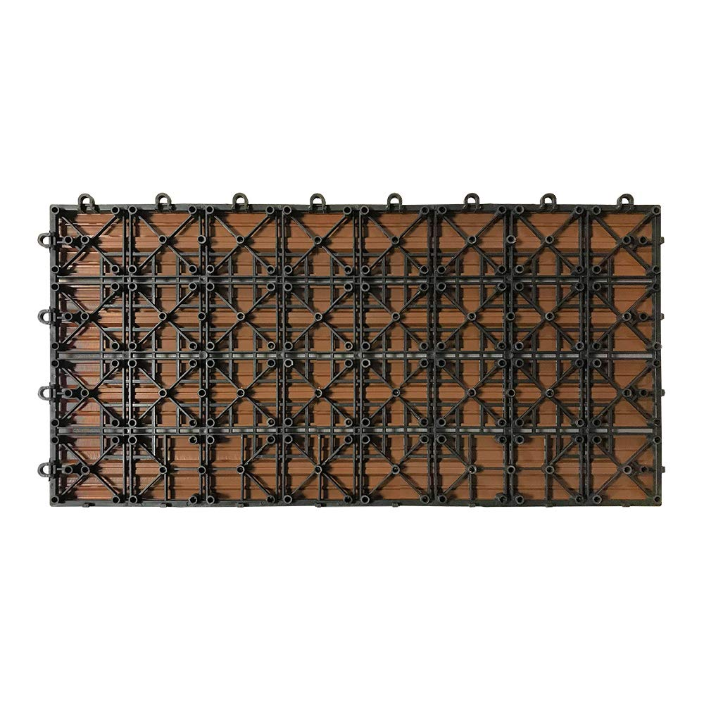 UISEBRT 11x Baldosas Madera Exterior WPC Compuesto 30 x 30cm Baldosas de Terraza Jardin 11 piezas 30x30cm - 1m/², Marr/ón