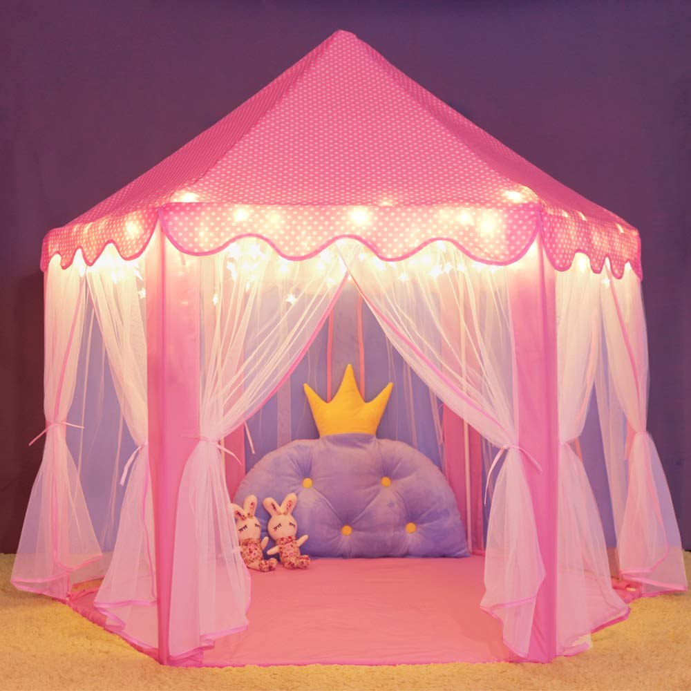 Wilwolfer Princess Castle Play Tent Large Kids Play House with Star Lights Girls Pink Play Tents Toy for Indoor Outdoor Games