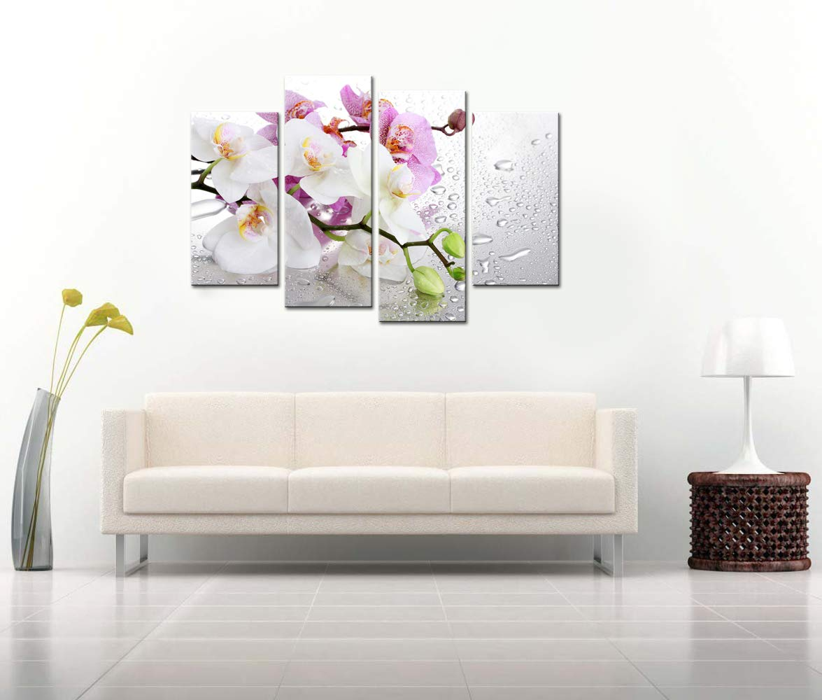 LevvArts – Flower Canvas Wall Art Set Pink and White Floral Pictures for Living Room with Frame Modern Peaceful Zen Spa Wall Art Decoration