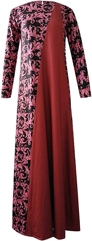 Yoyorule Dresses Women Dubai Arabian Floral Print Long Dress Muslim Dress Islamic Long Dress Halloween Party Swing Dress