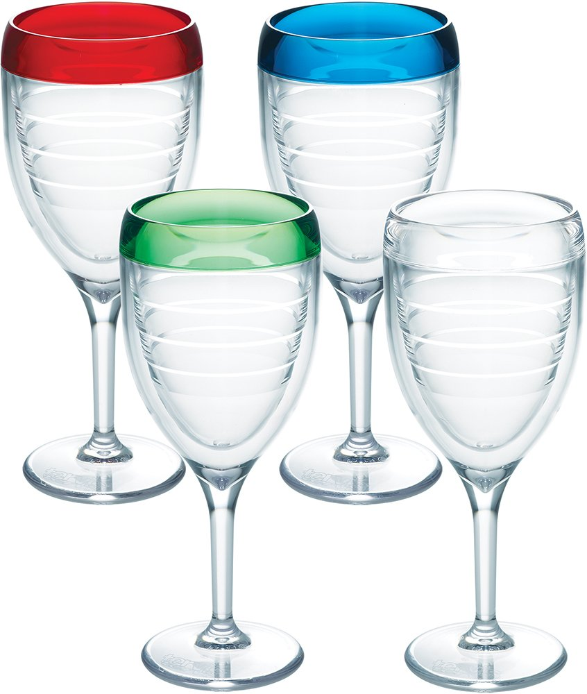 Tervis 1198203 Multi Color Insulated Tumbler 4 Pack-Boxed, 9Oz Wine Glass, Assorted