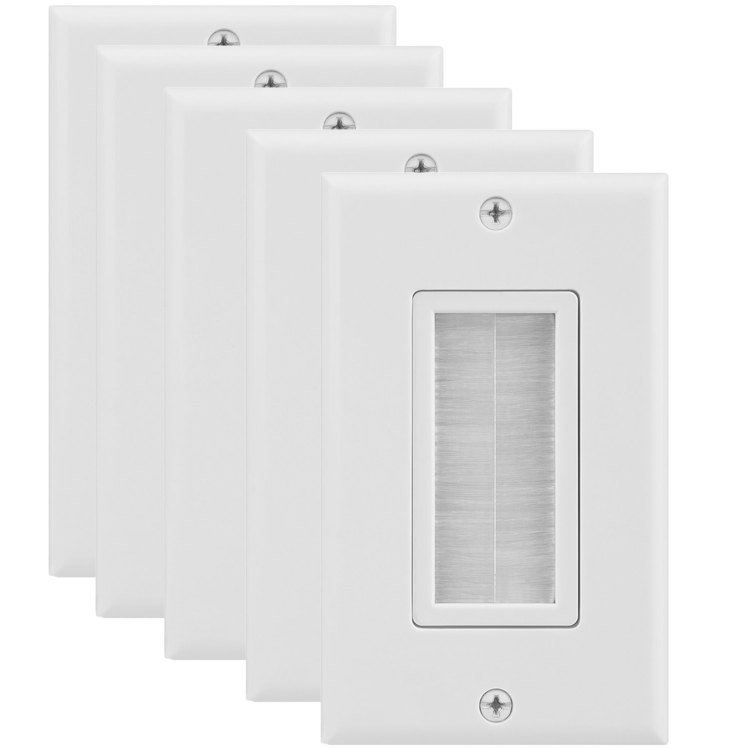 Fosmon 1-Gang Wall Plate (5 Pack), Brush Style Opening Passthrough Low Voltage Cable Plate in-Wall Installation for Speaker Wires, Coaxial Cables, HDMI Cables, or Network/Phone Cables by Fosmon