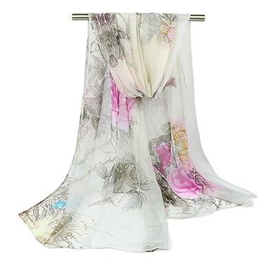 974e3385848d Westeng Echarpe Voile Foulard Motif de Fleur Châle Longue Douce pour Femme  160 x 50 cm  Amazon.fr  Vêtements et accessoires